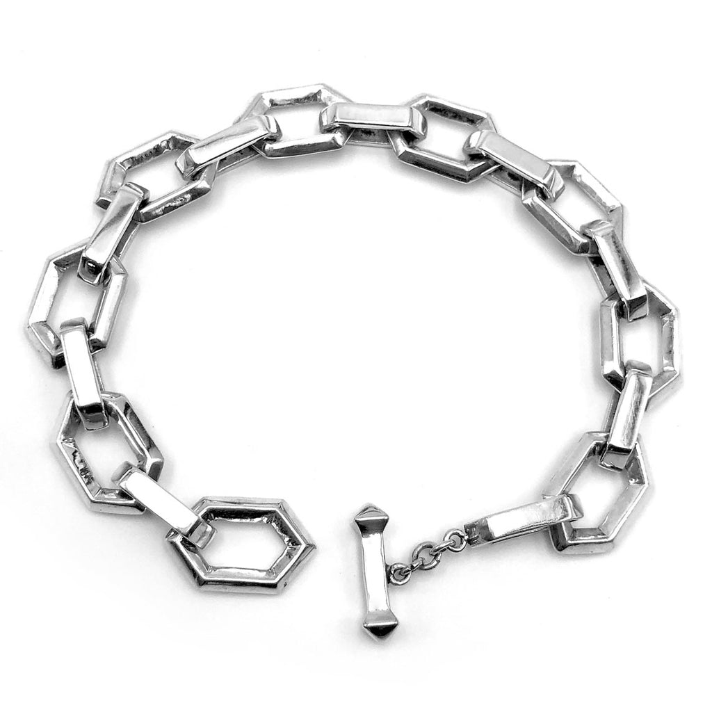 Large Sterling Silver Hex Bracelet