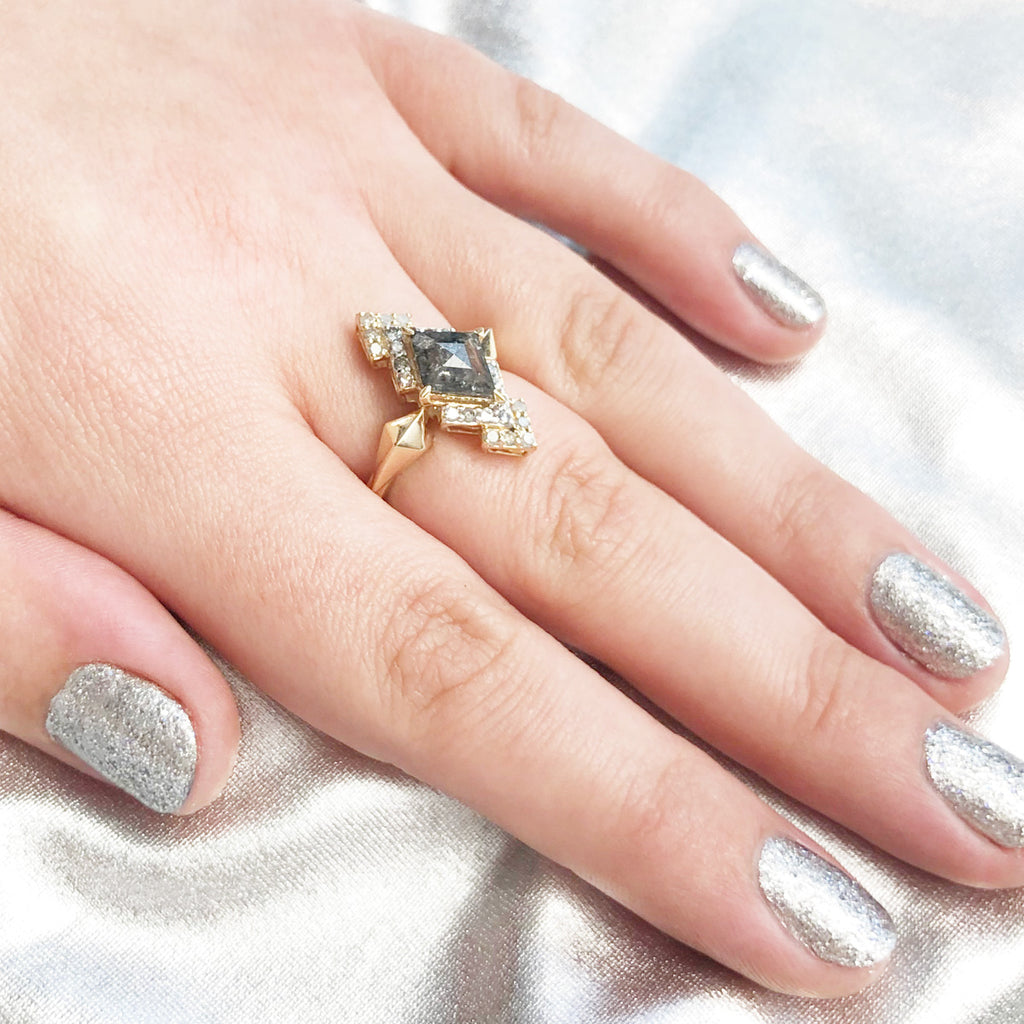 Layered Galaxy Ring set with epic Salt and Pepper Diamond and light grey Diamonds in 9 carat Yellow Gold