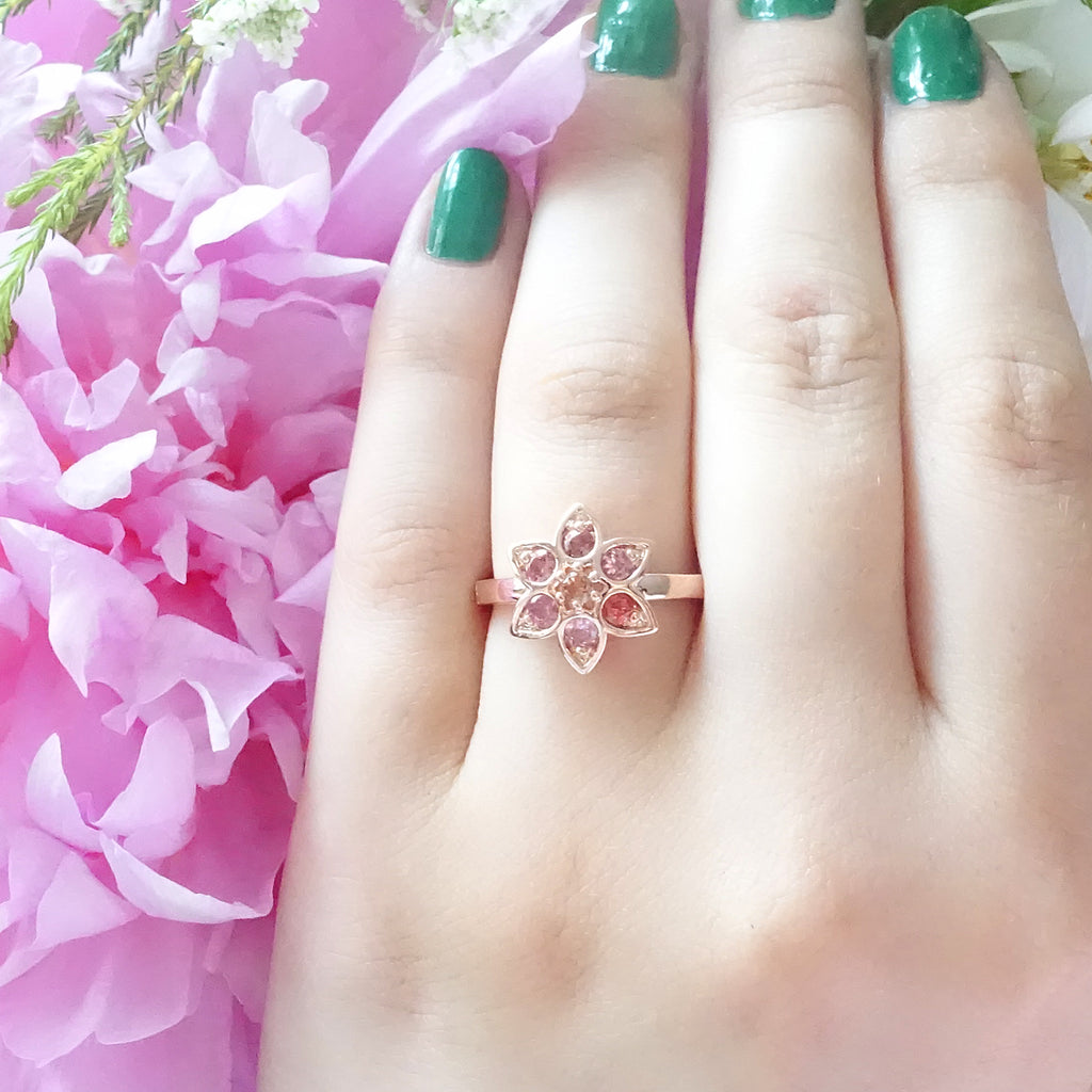 Baby Pink with 1 Hot Pink Tourmaline Star Tulip ring in 9 carat Rose Gold