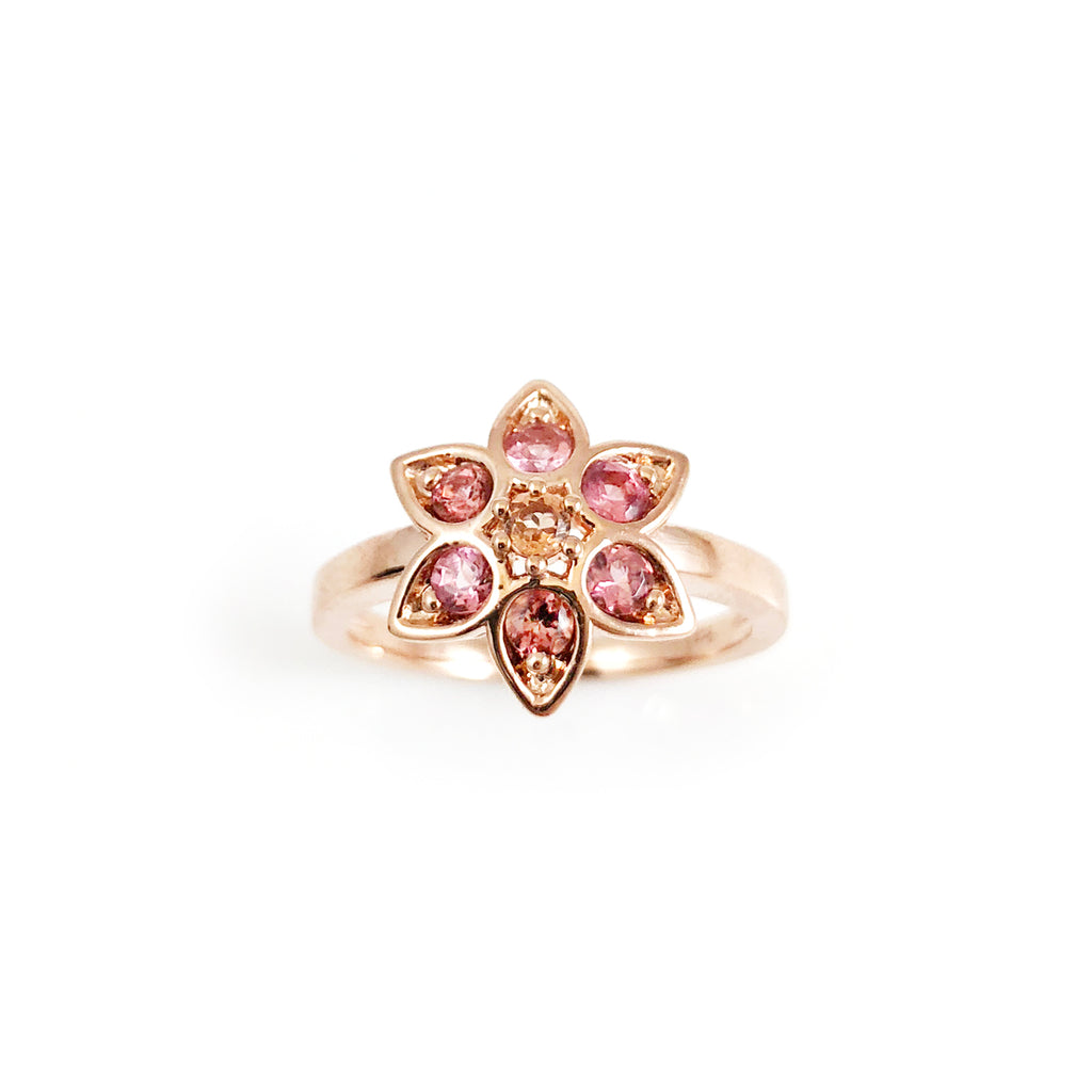 Baby Pink and Apricot Tourmaline Star Tulip ring in 9 carat Rose Gold