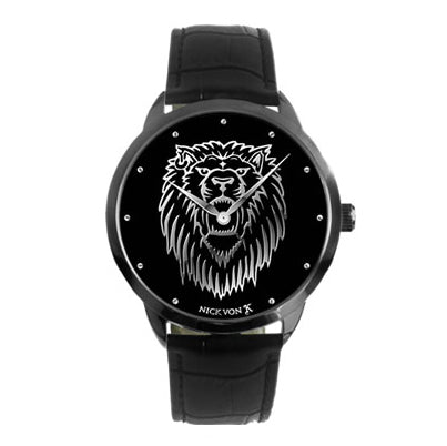 Regal Lion Black Steel Watch