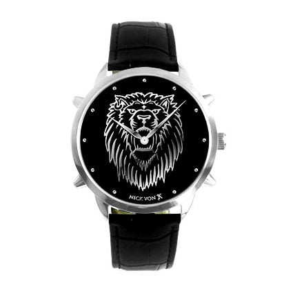 Regal Lion Polished Steel Watch with Spikes