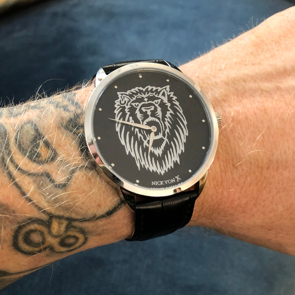 Regal Lion Polished Steel Watch