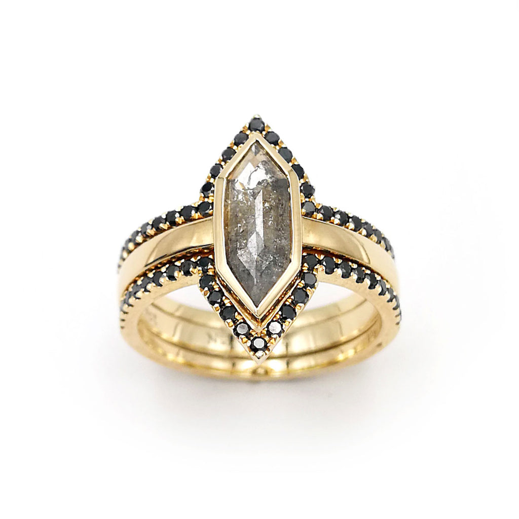Long Hexagon cut Salt and Pepper Diamond Ring with two Eternity framing rings in 9 carat Yellow Gold
