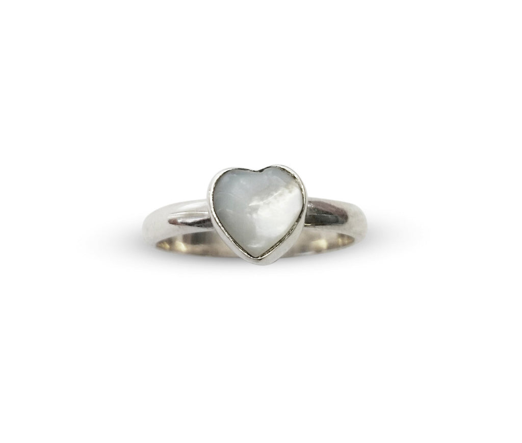 Mother of Pearl Heart mini ring