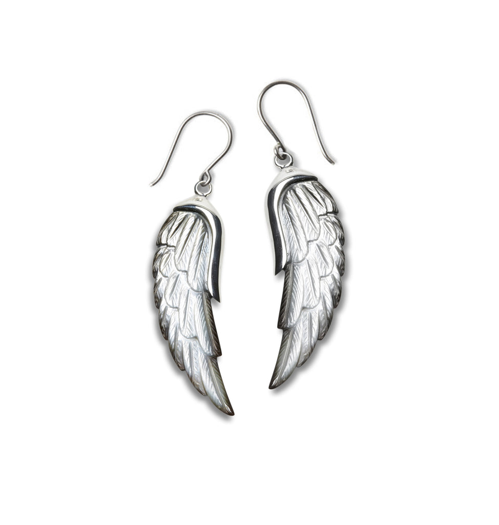 Angel Wing earrings carved from Mother of Pearl