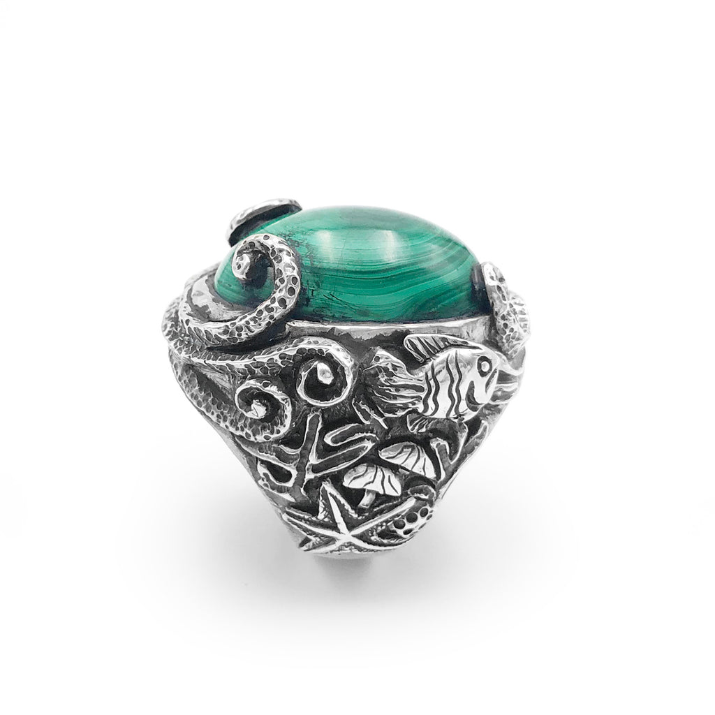 Epic Malachite Octopus Garden Ring