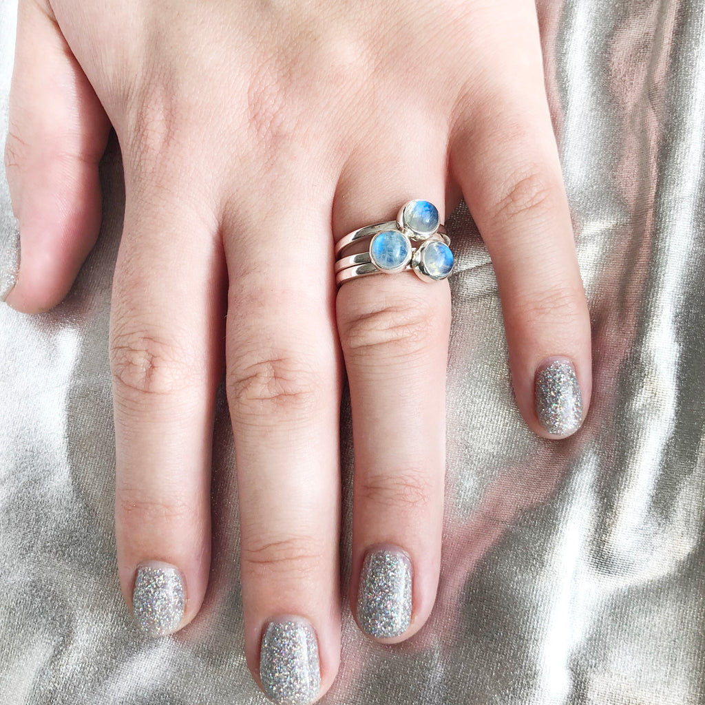 3 Muses Ring with Rainbow Moonstone