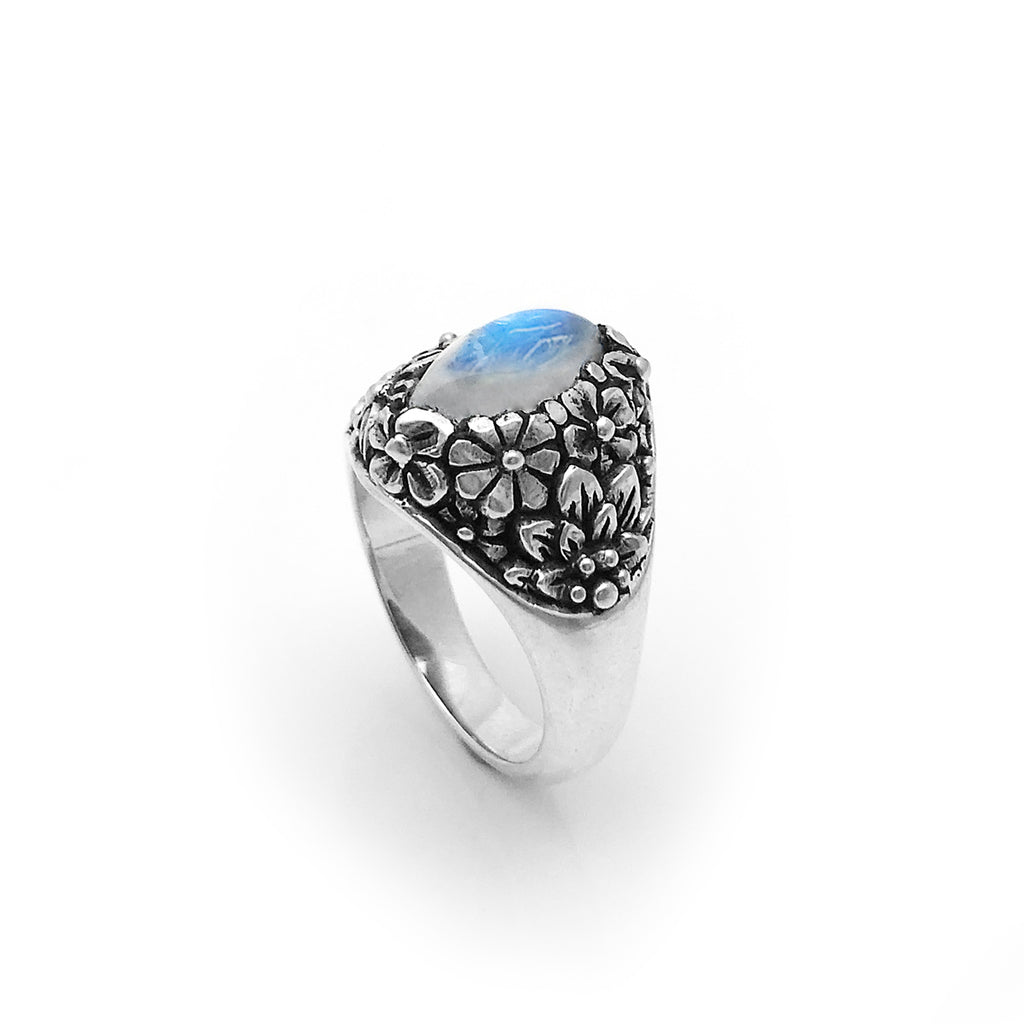 Rainbow Moonstone Marquis Flower Ring