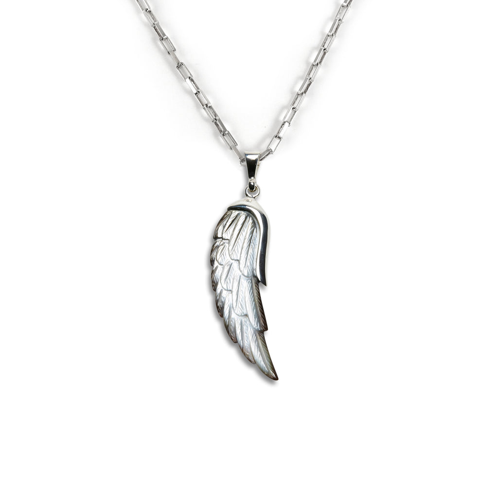 Angel Wing Charm carved from Mother of Pearl