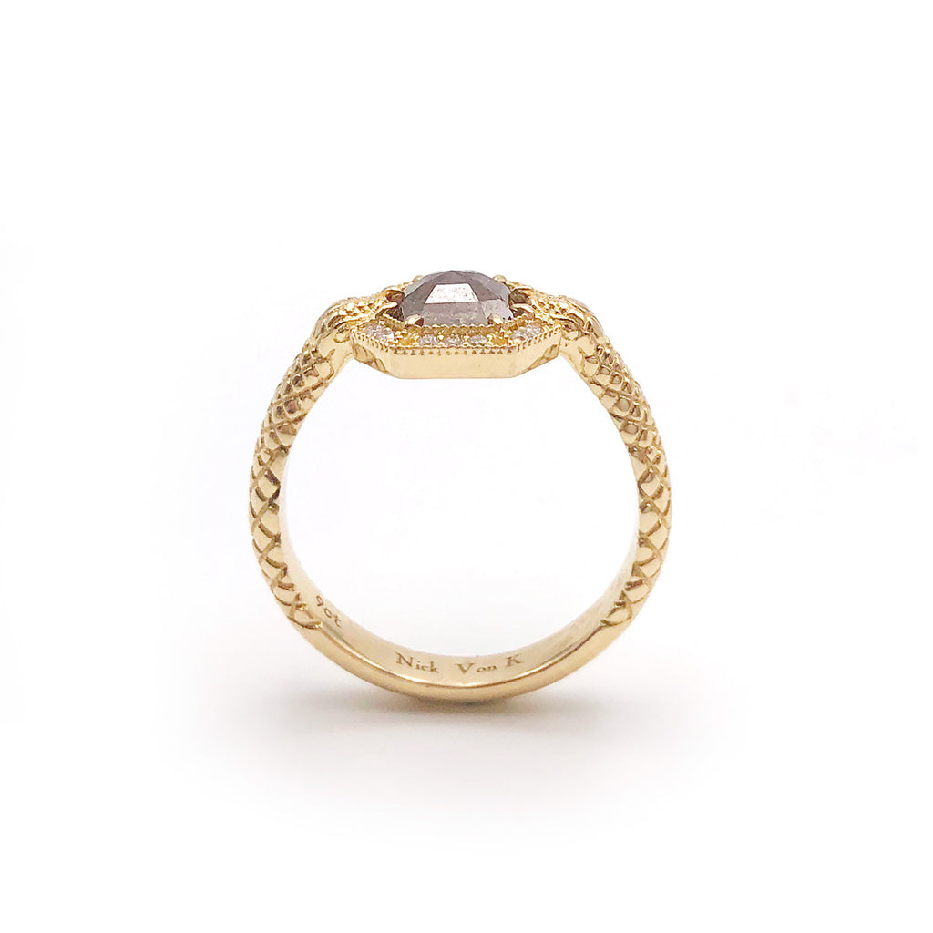 Octagonal Character Cognac Diamond Snake Ring set with White Diamond Halo in 9 carat Yellow Gold