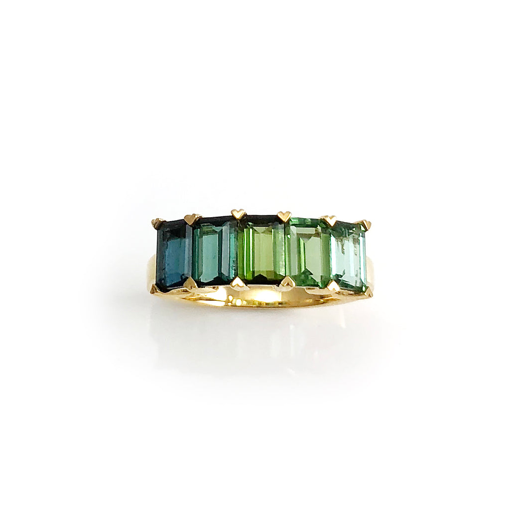 Blue / Green Tourmaline Ombre ring set in 18 carat Yellow Gold