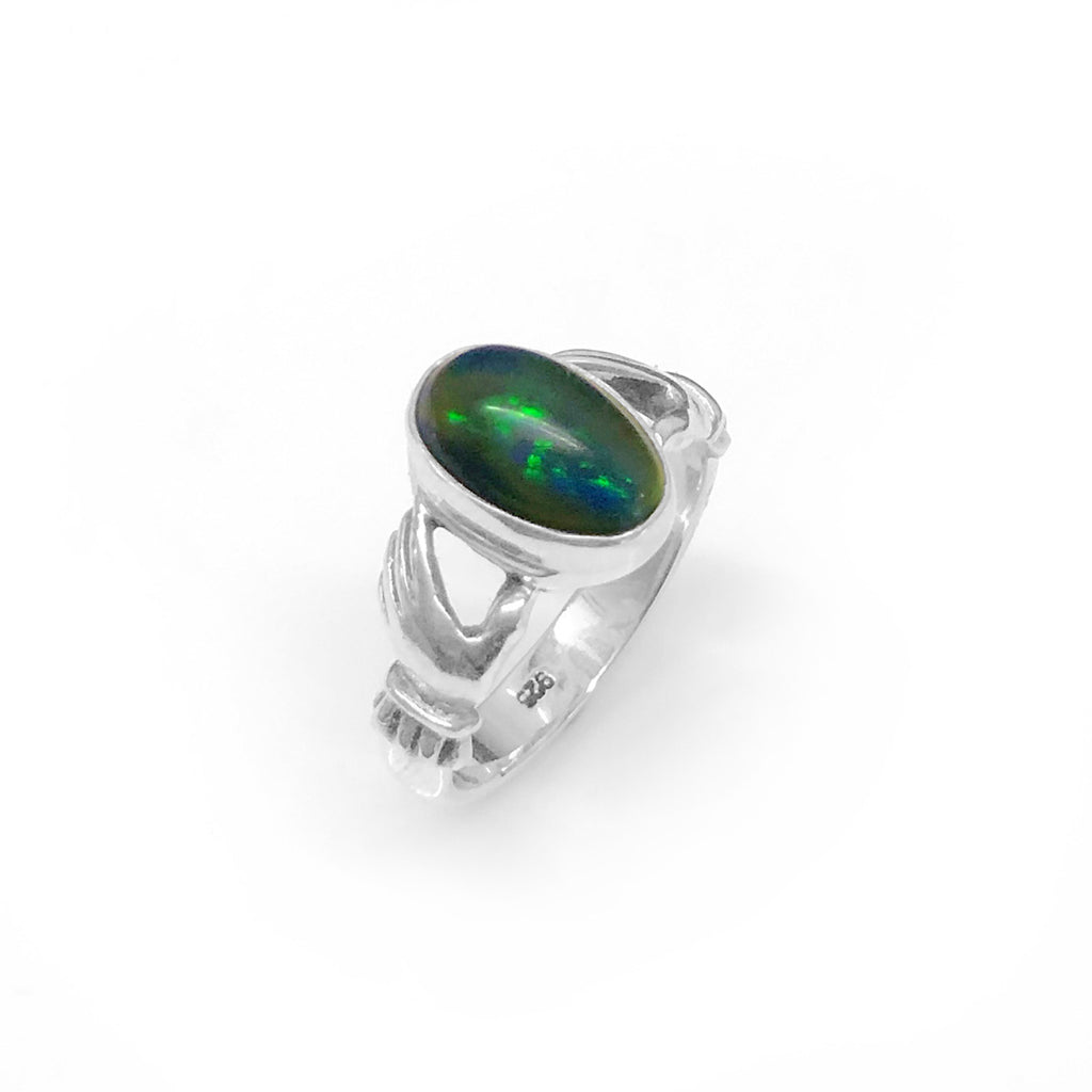 Claddagh Hands Opal Ring