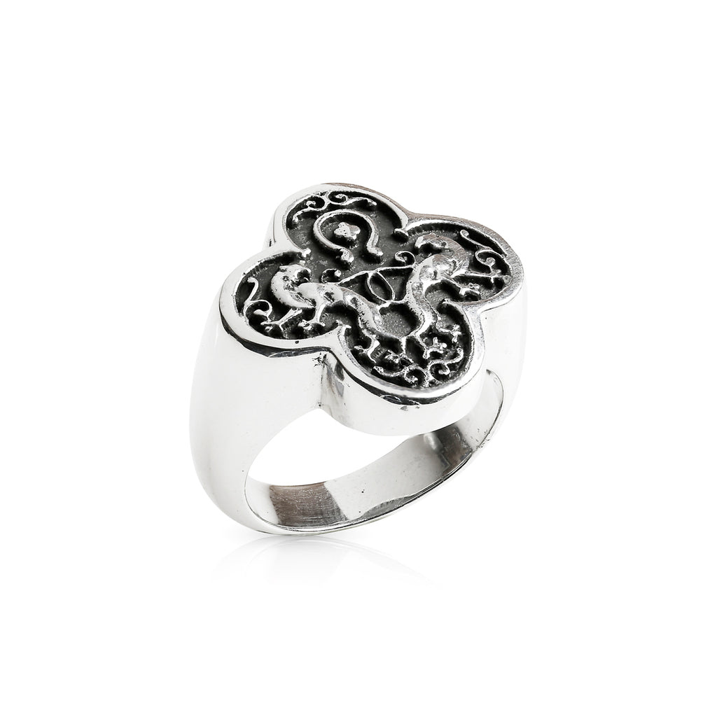 Double Panther Crest ring