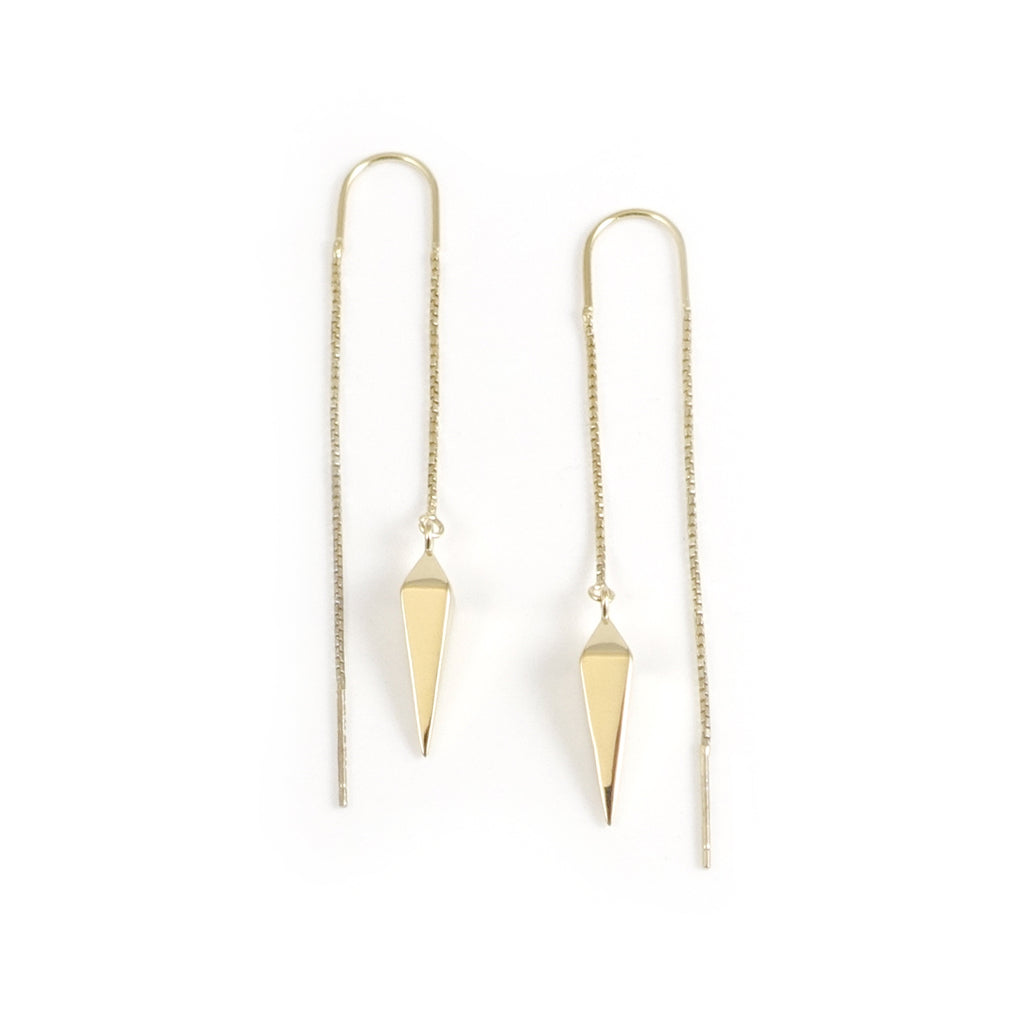 Gold Dipped Star Pendulum Thread Chain earrings