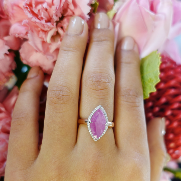 Pink Ruby and Diamond Marquis ring