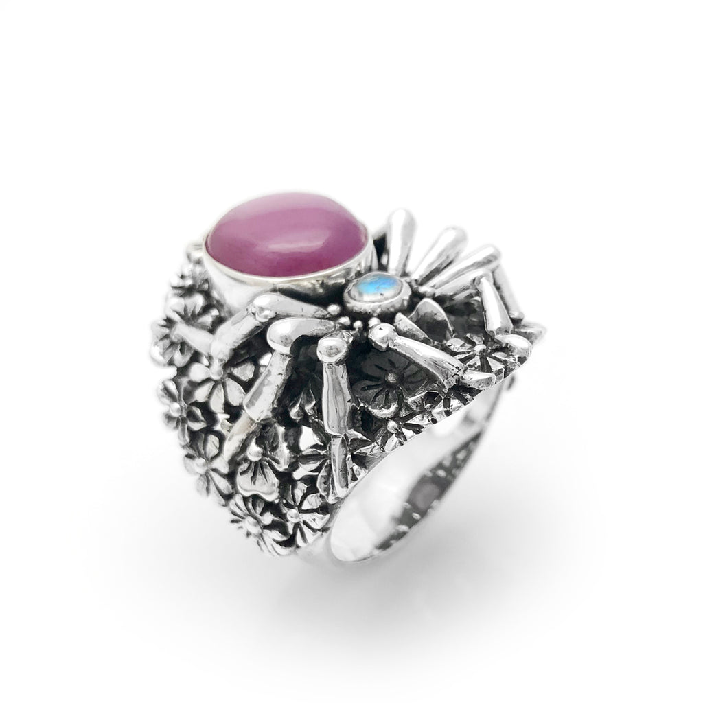 Pink Star Ruby Spider Flower Garden Ring