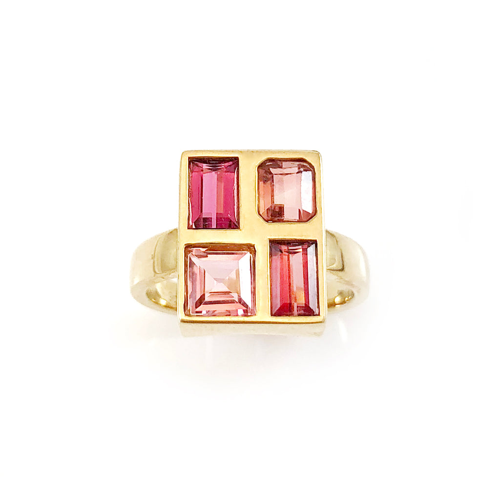 Pink Tourmaline Mosaic ring