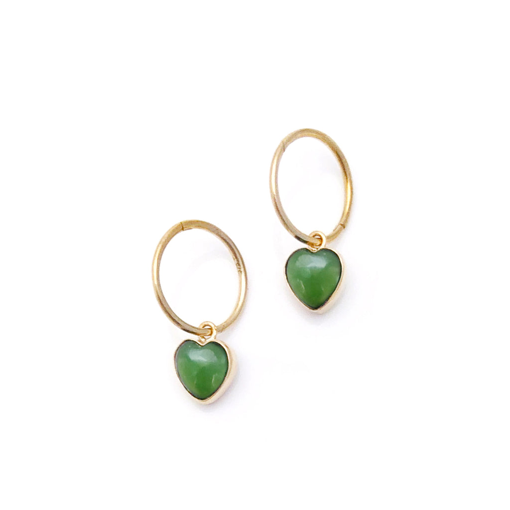 14 carat Gold Heart Hoop Earrings