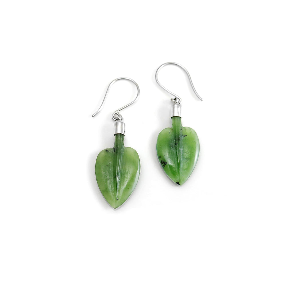 Pounamu Pohutukawa Leaf earrings