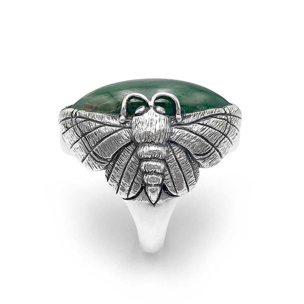 Pounamu Puriri Moth Ring