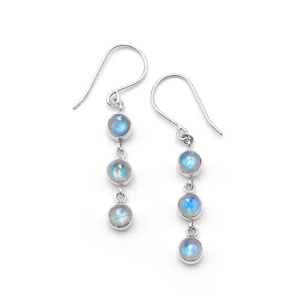 Rainbow Moonstone 3 Muses Earrings