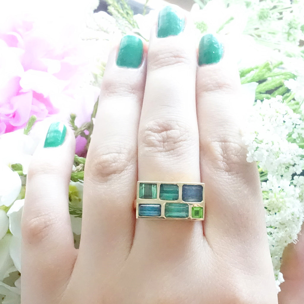 Blue and Green Tourmaline Landscape Rectangle Mosaic ring set in 9 carat Yellow Gold