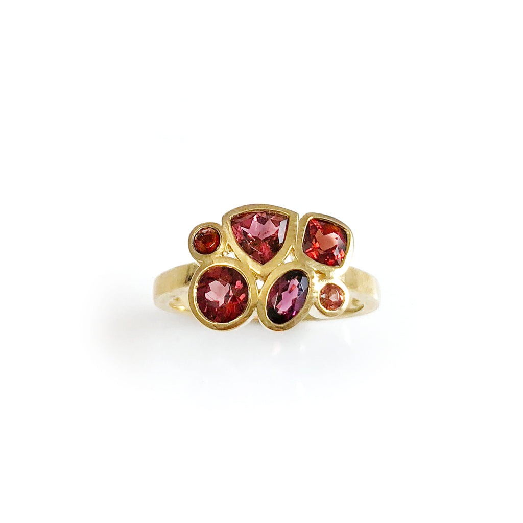 Berry Red Cluster ring set in 9 carat Yellow Gold