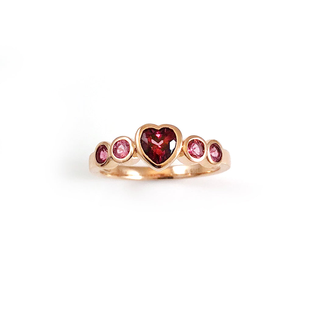 Blood Red Heart ring in 18 carat Rose Gold