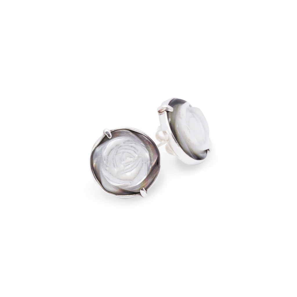 Mother of Pearl Rose stud earrings