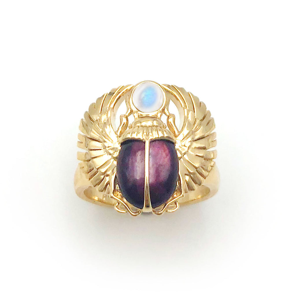 Egyptian Scarab Beetle Ring with Star Ruby and Rainbow Moonstone in 9 carat Yellow Gold