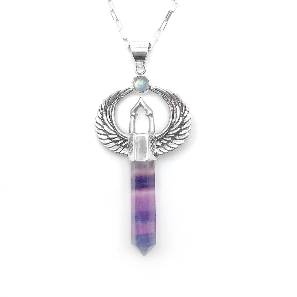 Sanctuary Pendant with Rainbow Fluorite