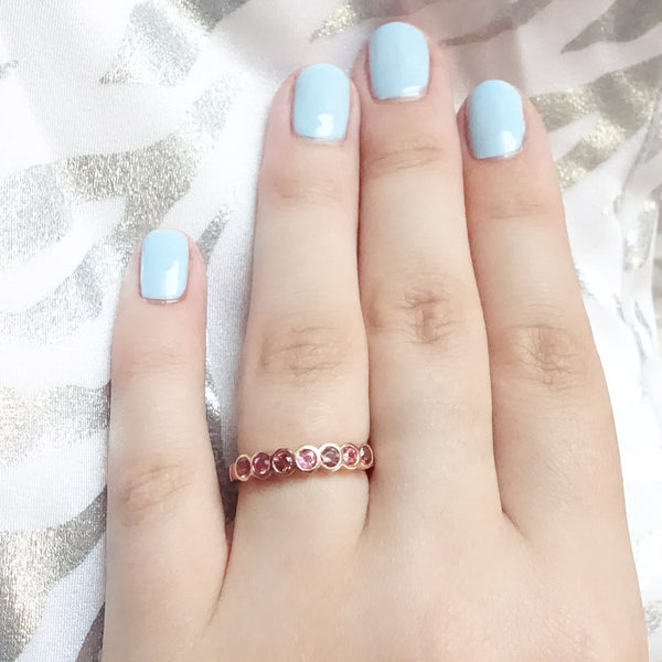 Soft Pink Tourmaline Seven Deadly Stones ring in 9 carat Rose Gold