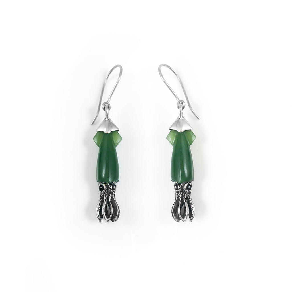 Pounamu Squid Earrings