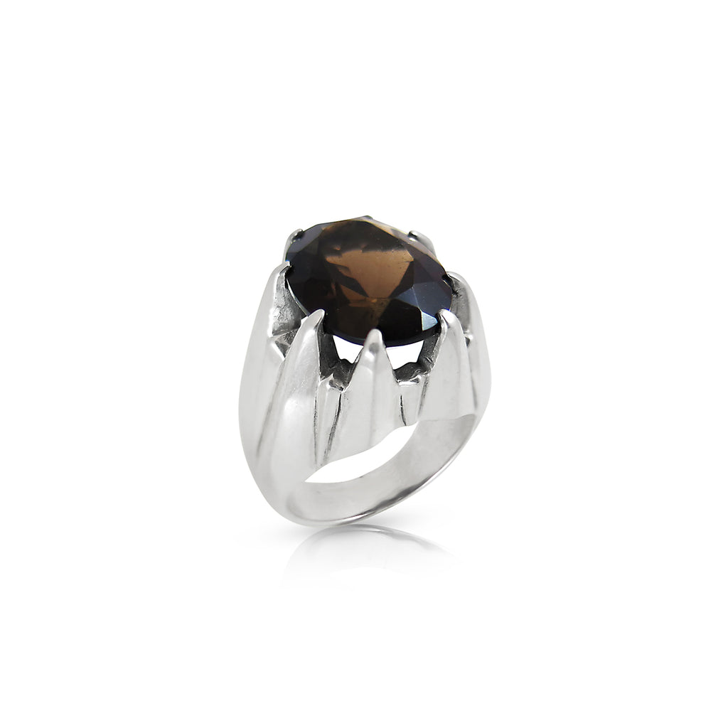 Smokey Quartz Large Star Claw Ring