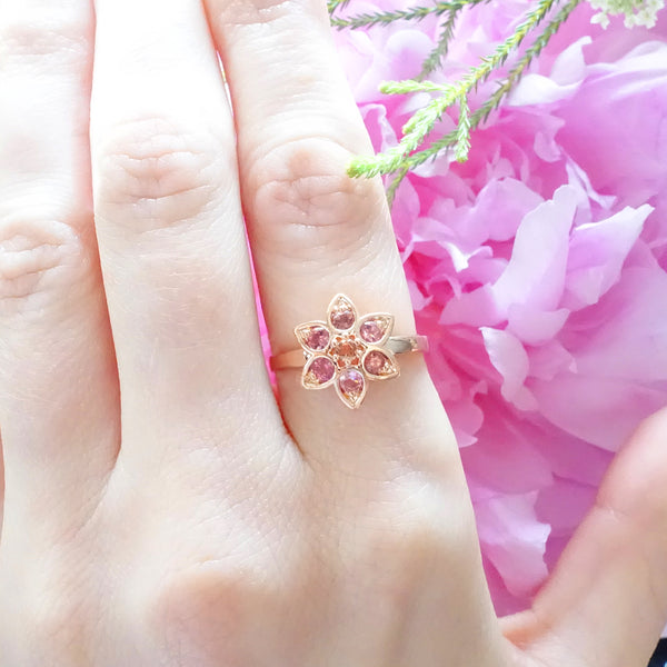 Baby Pink and Apricot Tourmaline Star Tulip ring