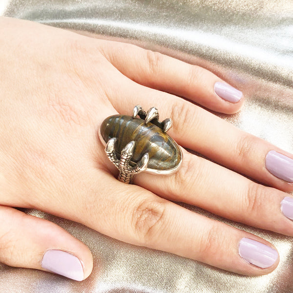 Striped Tigers Eye Claw Ring
