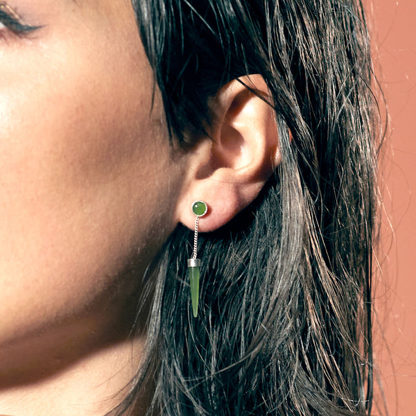 Pounamu Dot Dash Earrings