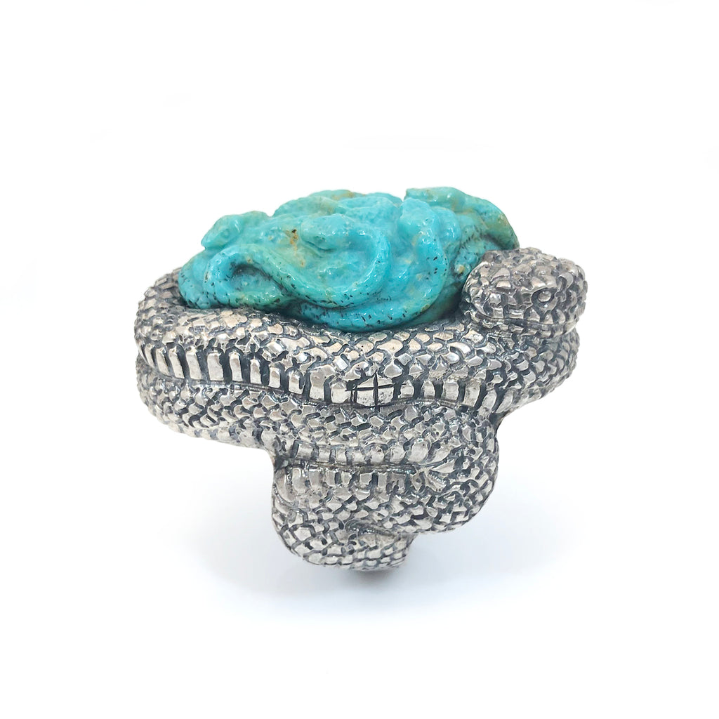 Custom Snake ring with carved Turquoise Baby Snakes