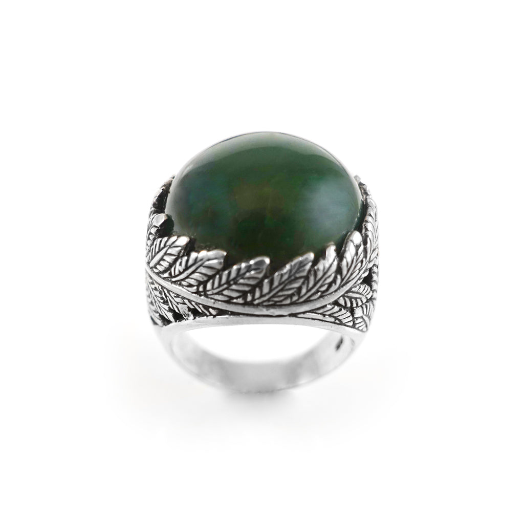 Twin Fern Ring with Pounamu