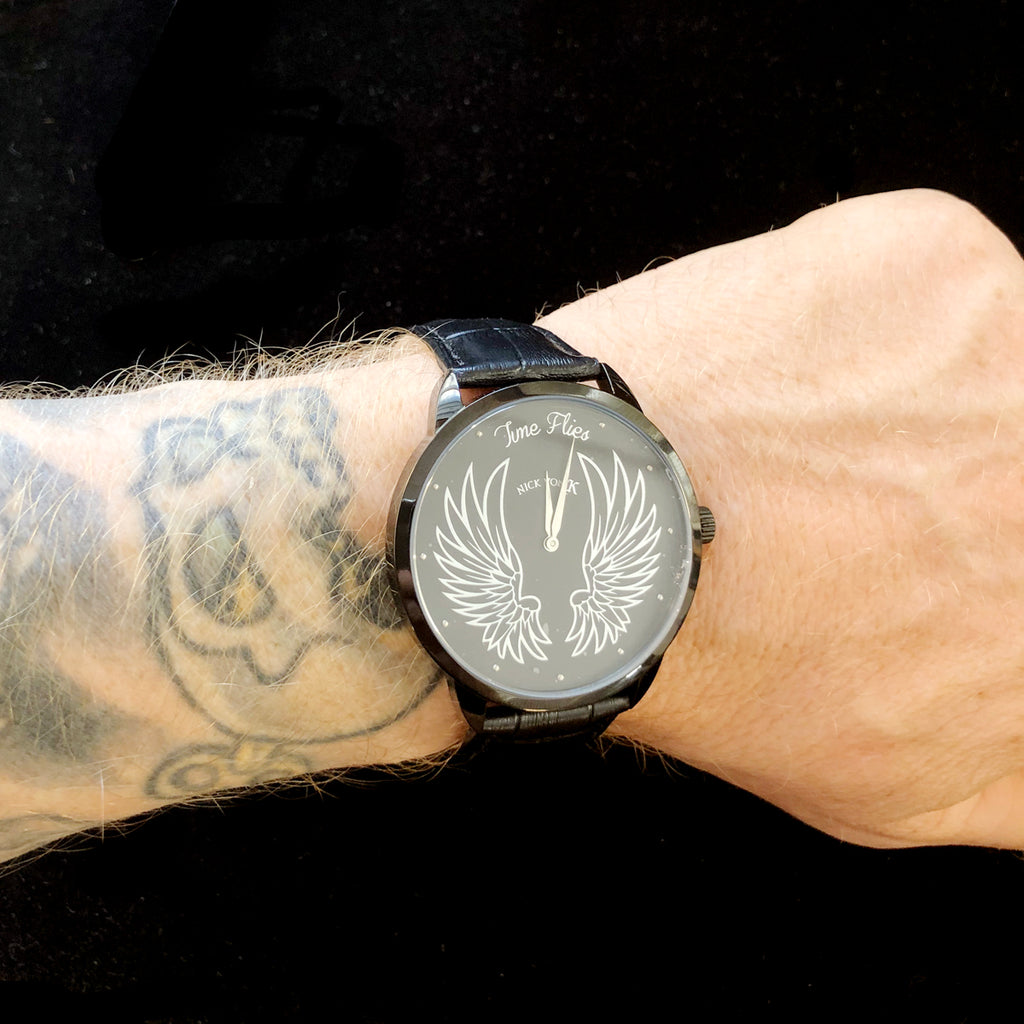 """Time Flies"" Polished Steel Watch"