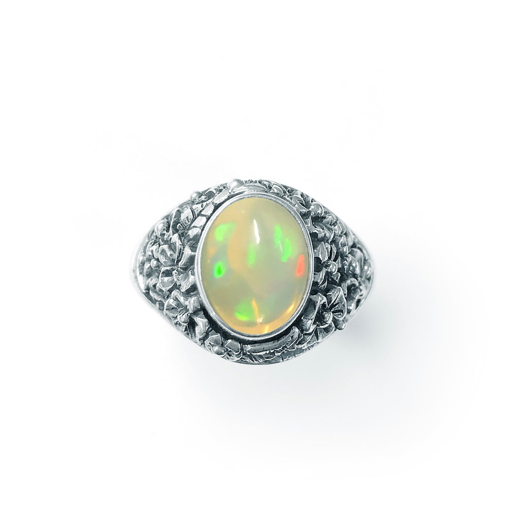 Epic White Opal Flower Ring