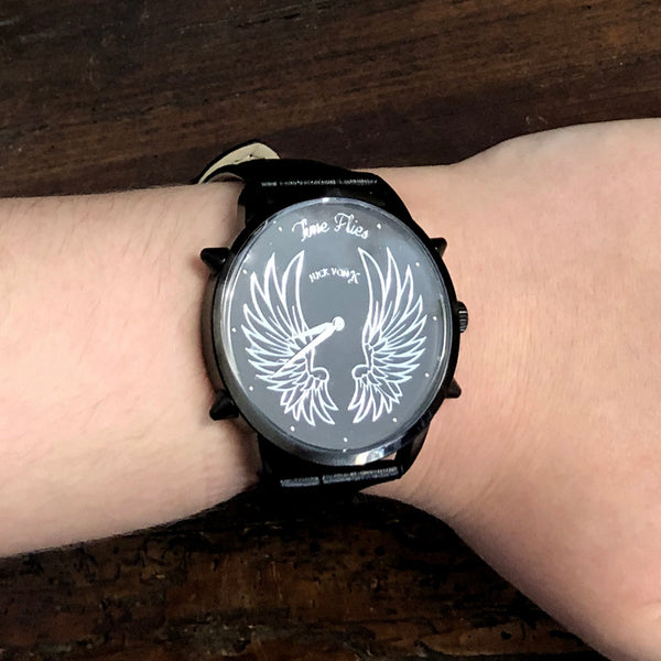 """Time Flies"" Black Steel Watch with Spikes"