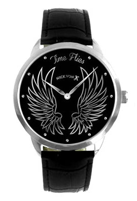 Time Flies Polished Steel Watch