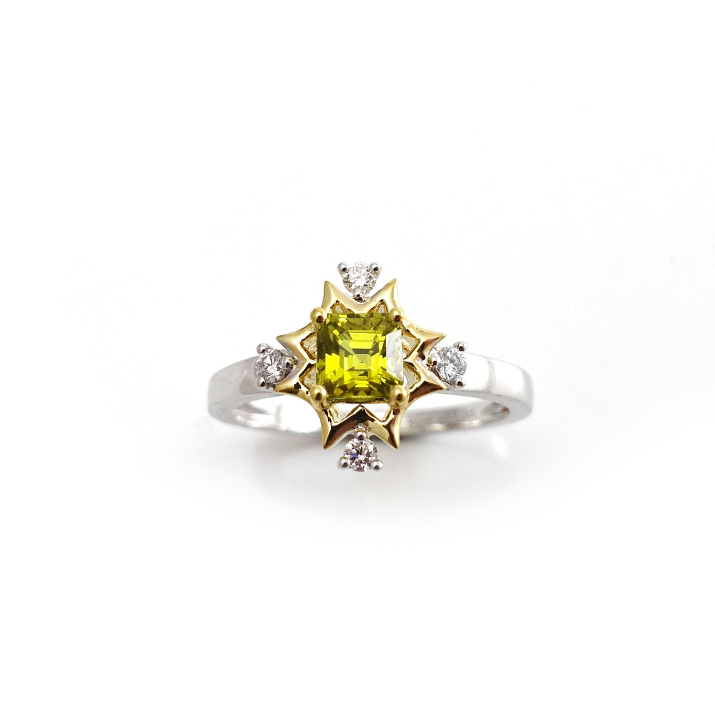 Yellow Tourmaline and Diamond Aura ring in 9 carat White and Yellow Gold