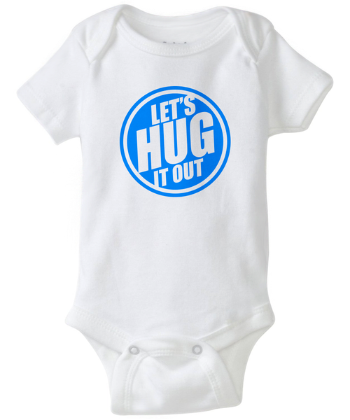 White baby jumper with a blue Let's hug it out logo