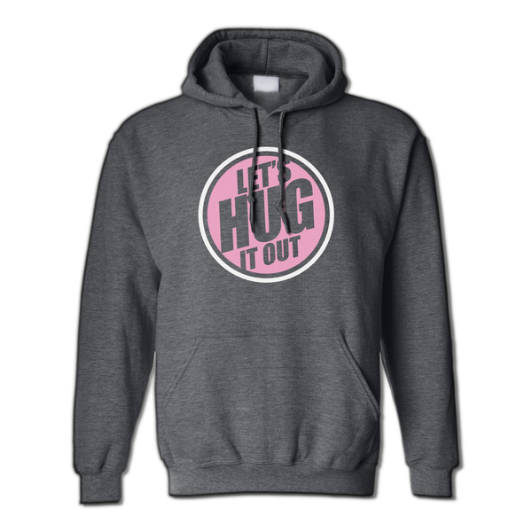 Charcoal Grey Sweater with a pink and white Let's hug it out logo
