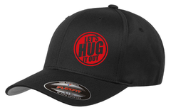 Black hat with red logo of let's hug it out