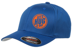blue hat with orange logo of let's hug it out