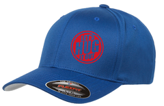 blue hat with red logo of let's hug it out